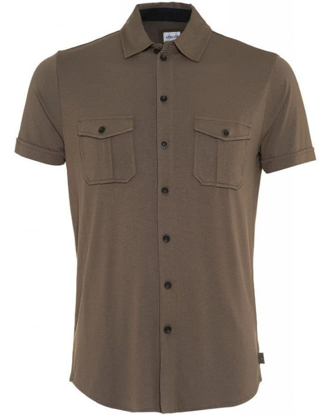 Armani Collezioni Taupe Brown Jersey Slim Fit Shirt