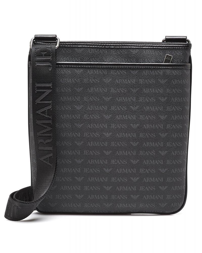 7d376c007cc6 Armani Jeans Black All Over Signature Logo Print Messenger Bag