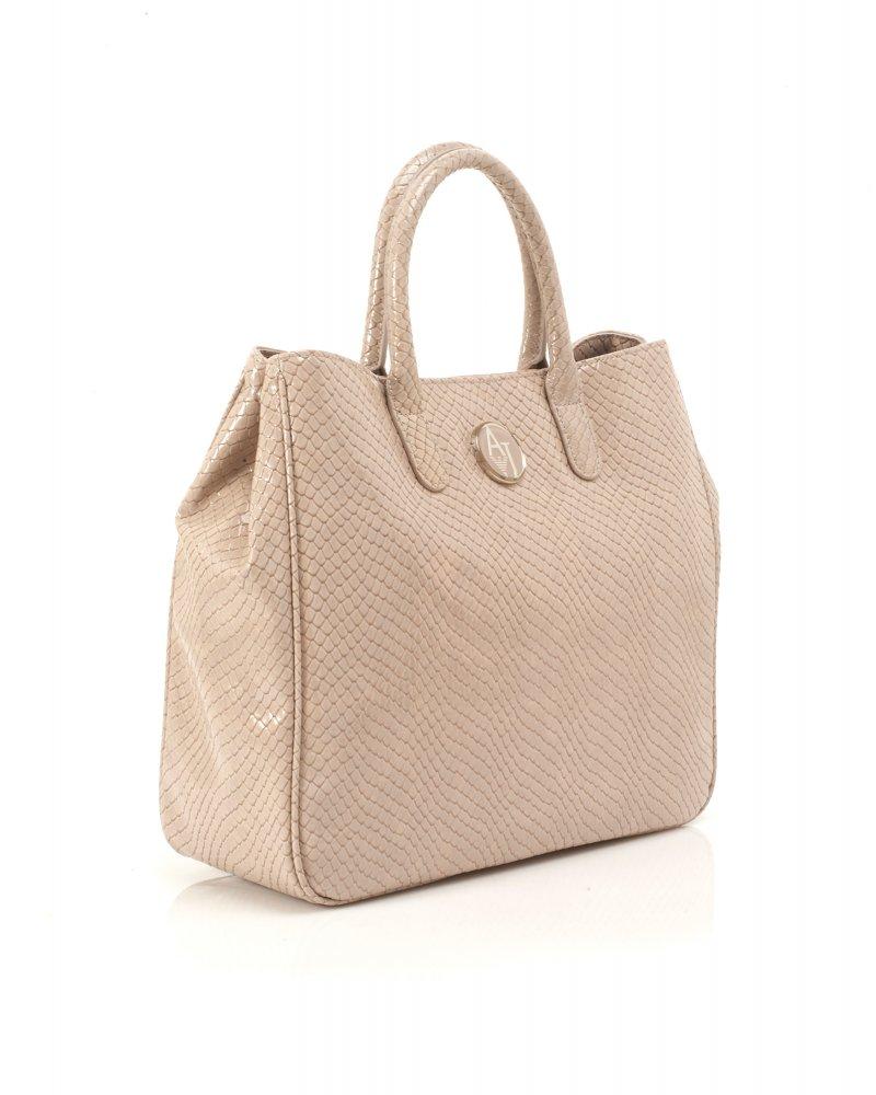 Armani Jeans Beige Grey Reptile Print Shopper Bag 97f1cc9eada6