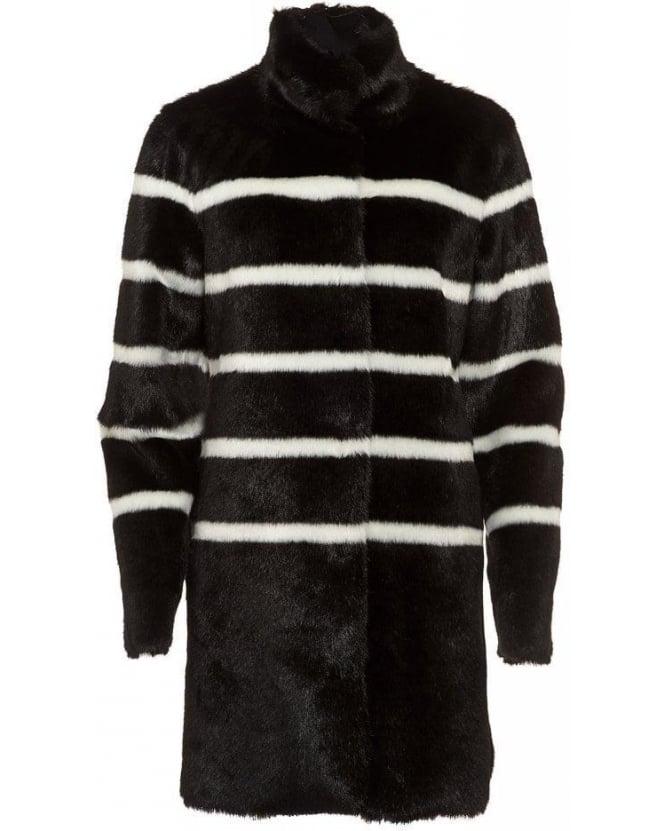 Armani Jeans Black and White Stripe Fur Coat