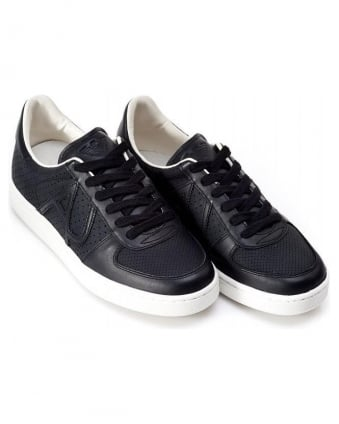 Armani Jeans Black Perforated Welt Trainers