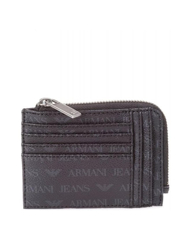 Armani Jeans Black Zip Around Logo Wallet