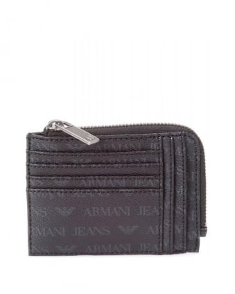Black Zip Around Logo Wallet
