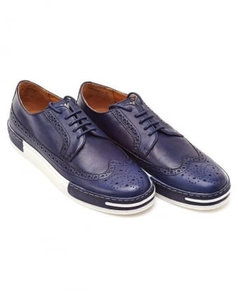Blue Two Tone Lace Up Brogue