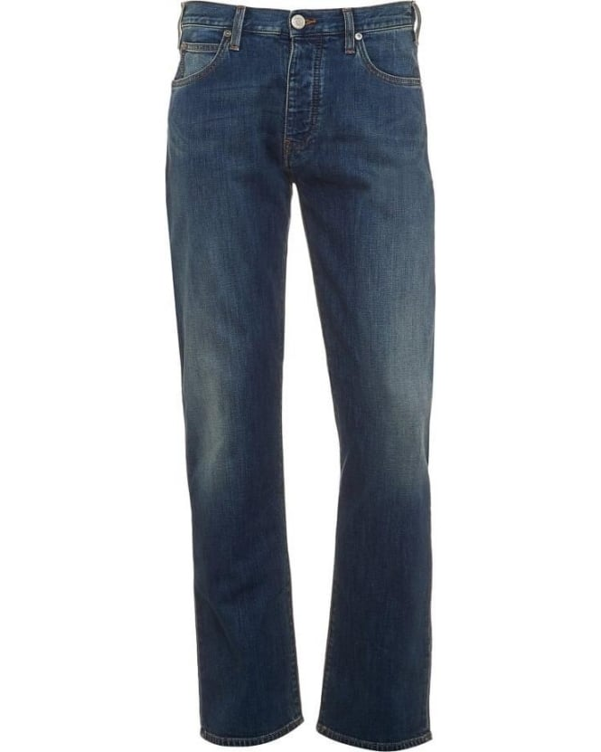 Armani Jeans J21 Mens Jean Mid Light Blue Wash Regular Fit Jeans