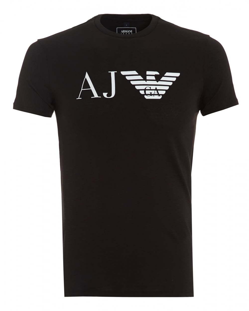 armani jeans mens aj logo t shirt slim fit black tee