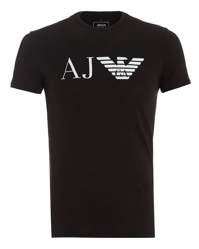 Armani Jeans Mens AJ Logo T-Shirt, Slim Fit Black Tee