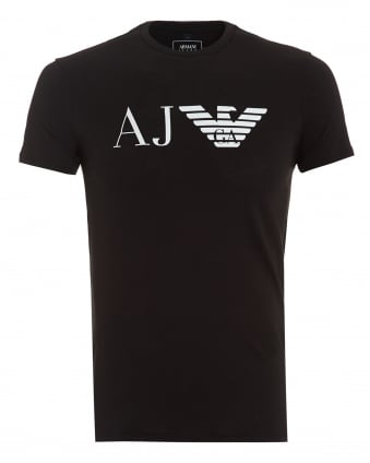 Mens AJ Logo T-Shirt, Slim Fit Black Tee
