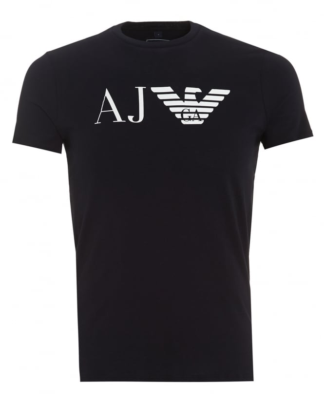 Armani Jeans Mens AJ Logo T-Shirt, Slim Fit Navy Blue Tee