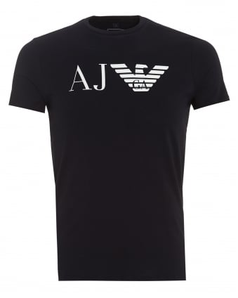 Mens AJ Logo T-Shirt, Slim Fit Navy Blue Tee