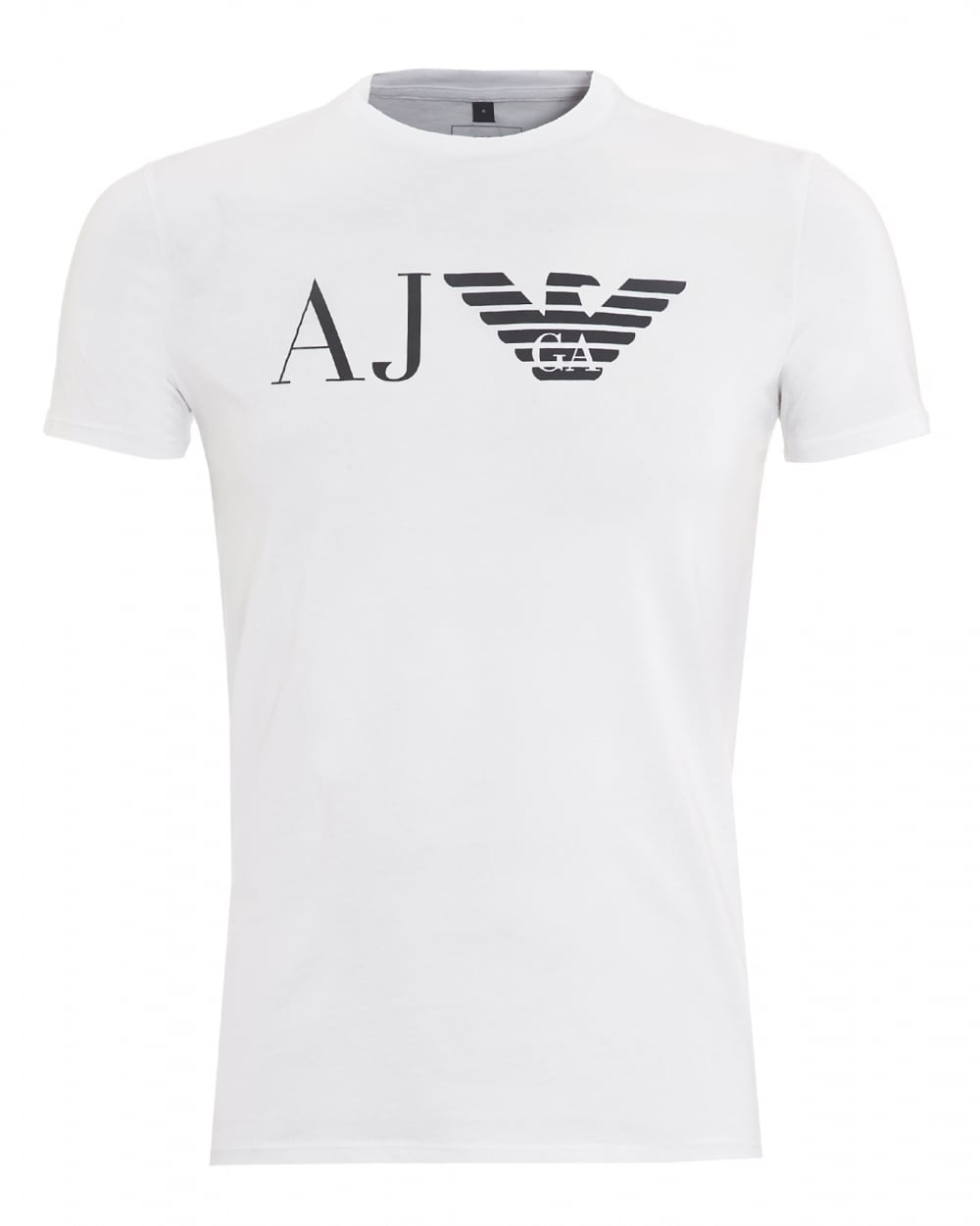 armani jeans mens aj logo t shirt slim fit white tee