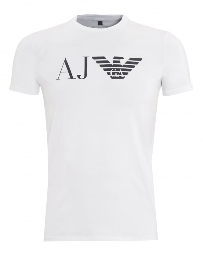Armani jeans mens aj logo t shirt slim fit white tee for Slim fit white t shirt