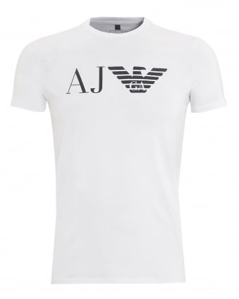 Mens AJ Logo T-Shirt, Slim Fit White Tee