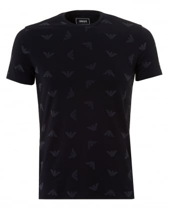 Mens All Over Eagle T-Shirt, Navy Blue Tee
