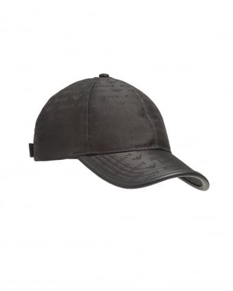 Mens All Over Logo Black Adjustable Baseball Cap
