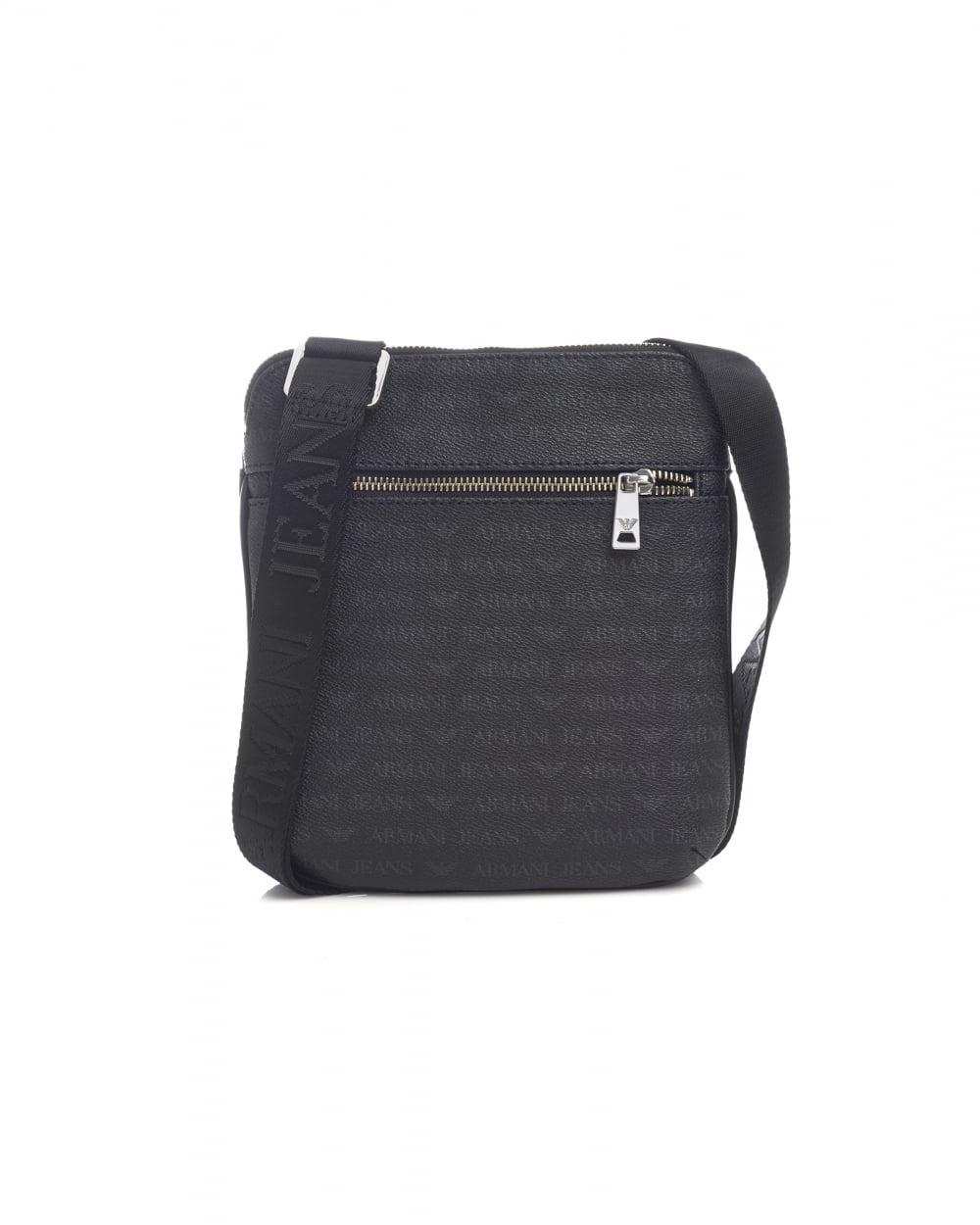 89b5769dd219 Armani Jeans Mens All Over Logo Black Stash Bag