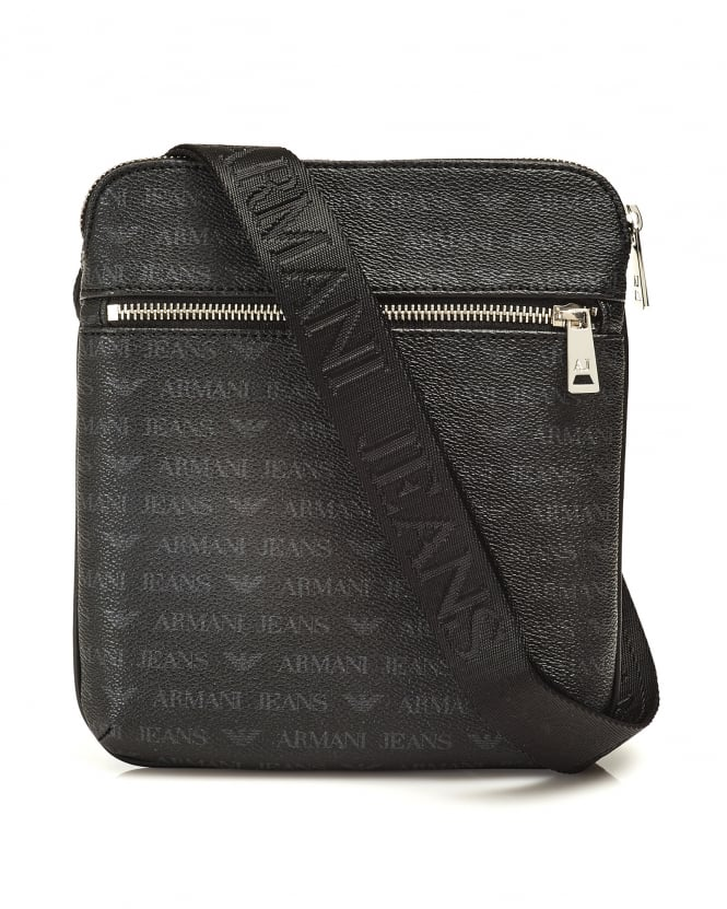 Armani Jeans Mens Bag, Black Logo Small Messenger Bag