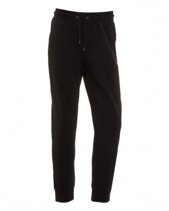 Mens Basic Black Cuffed Track Pant