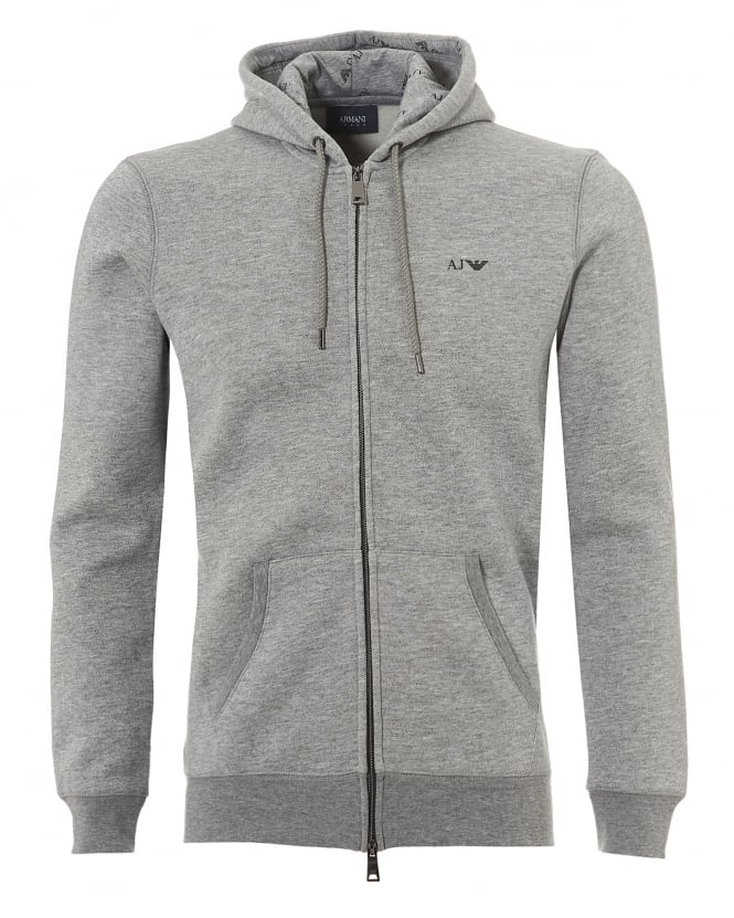 Armani Jeans Mens Basic Fleece Lined Hoodie, Grey Logo Sweatshirt