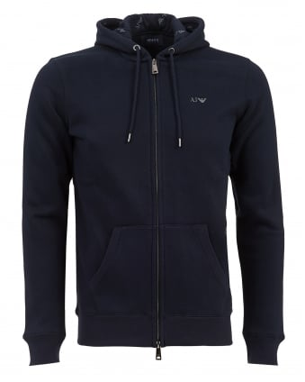 Mens Basic Fleece Lined Hoodie, Navy Logo Sweatshirt