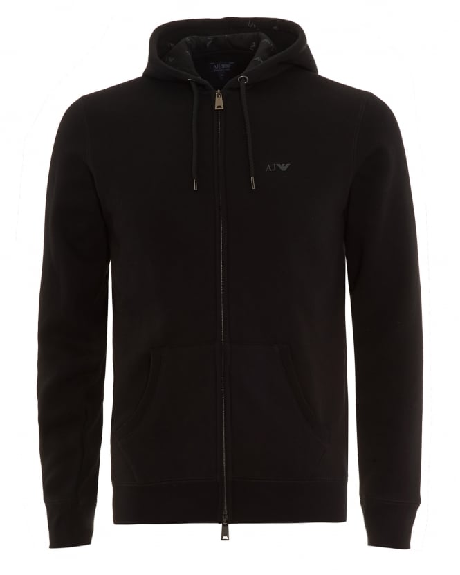 Armani Jeans Mens Basic Hoodie Black Full Zip Sweatshirt