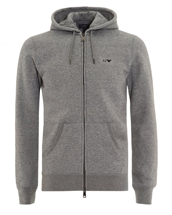 Armani Jeans Mens Basic Hoodie Grey Full Zip Sweatshirt