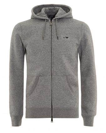 Mens Basic Hoodie Grey Full Zip Sweatshirt