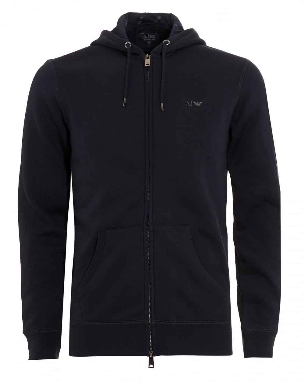 Armani Jeans Mens Basic Hoodie Navy Blue Full Zip Sweatshirt