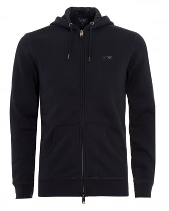 Mens Basic Hoodie Navy Blue Full Zip Sweatshirt