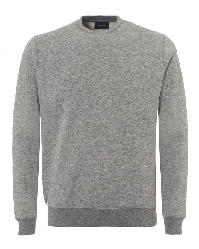 Armani Jeans Mens Basic Sweatshirt, Crew Neck Grey Jumper