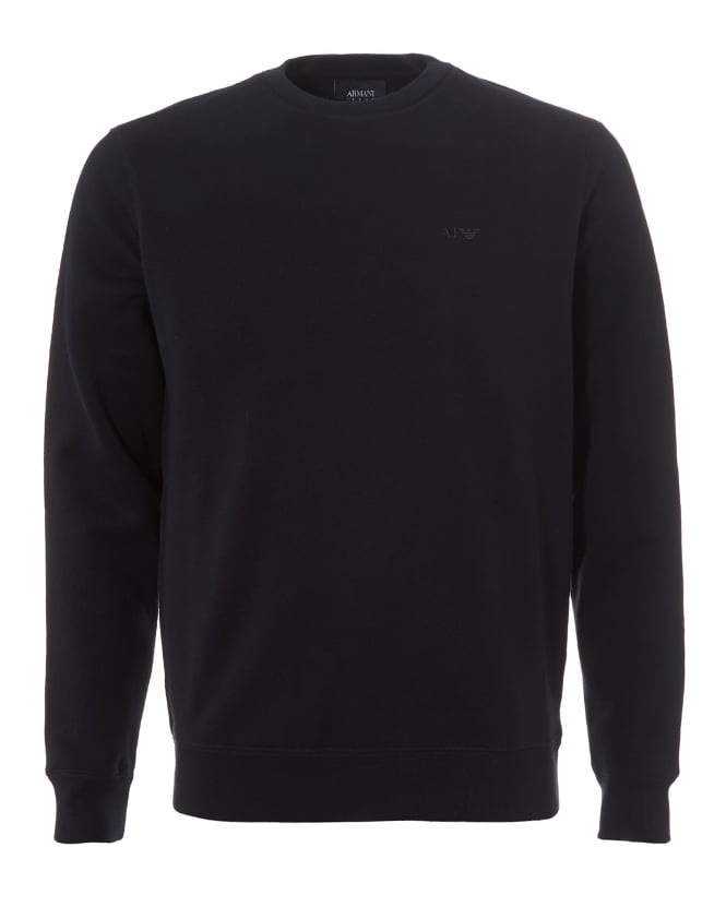 Armani Jeans Mens Basic Sweatshirt, Crew Neck Navy Blue Jumper