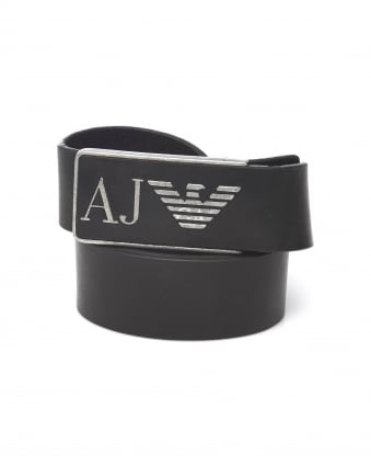 Mens Black Distressed Leather Logo Belt
