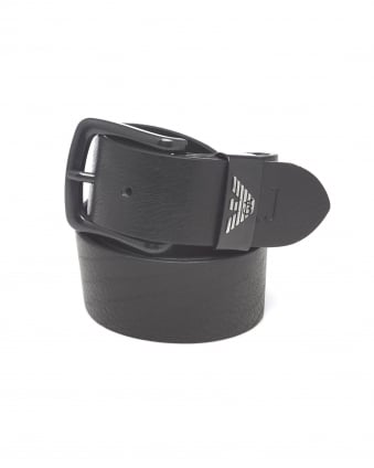 Mens Black Grained Leather Belt