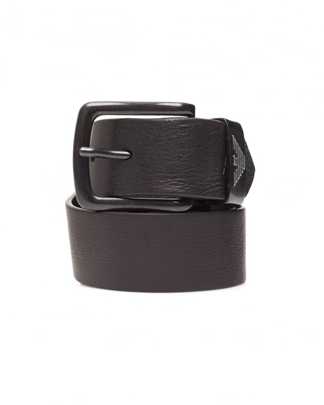 Armani Jeans Mens Black Leather Logo Belt