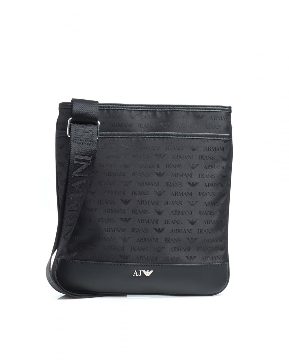 baf3735e598c Armani Jeans Mens Black Medium All Over Logo Stash Shoulder Bag