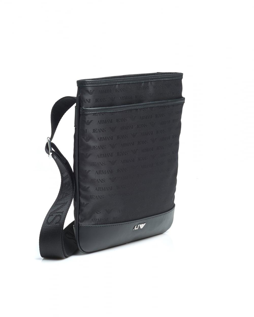 Armani Jeans Mens Black Medium All Over Logo Stash Shoulder Bag