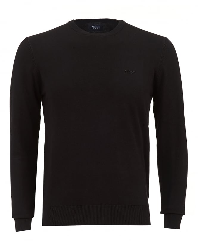 Armani Jeans Mens Black Regular Fit Crew Knit Logo Jumper