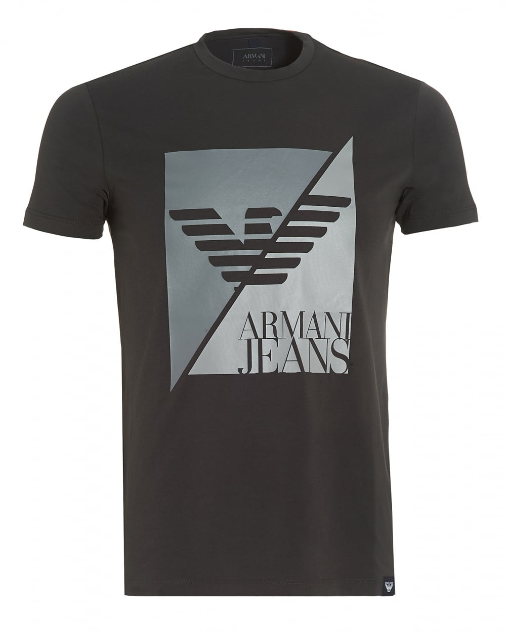 167f5cbc0c7a Armani Jeans Mens Black T-Shirt, Slim-Fit Split Eagle Logo Stretch Tee
