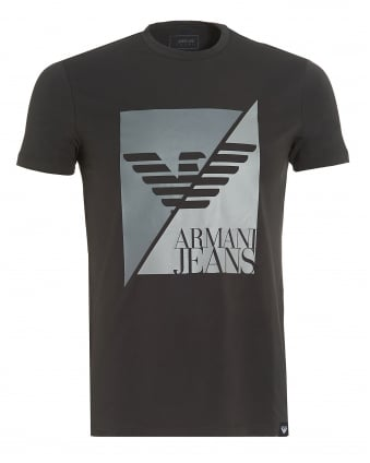 Mens Black T-Shirt, Slim-Fit Split Eagle Logo Stretch Tee