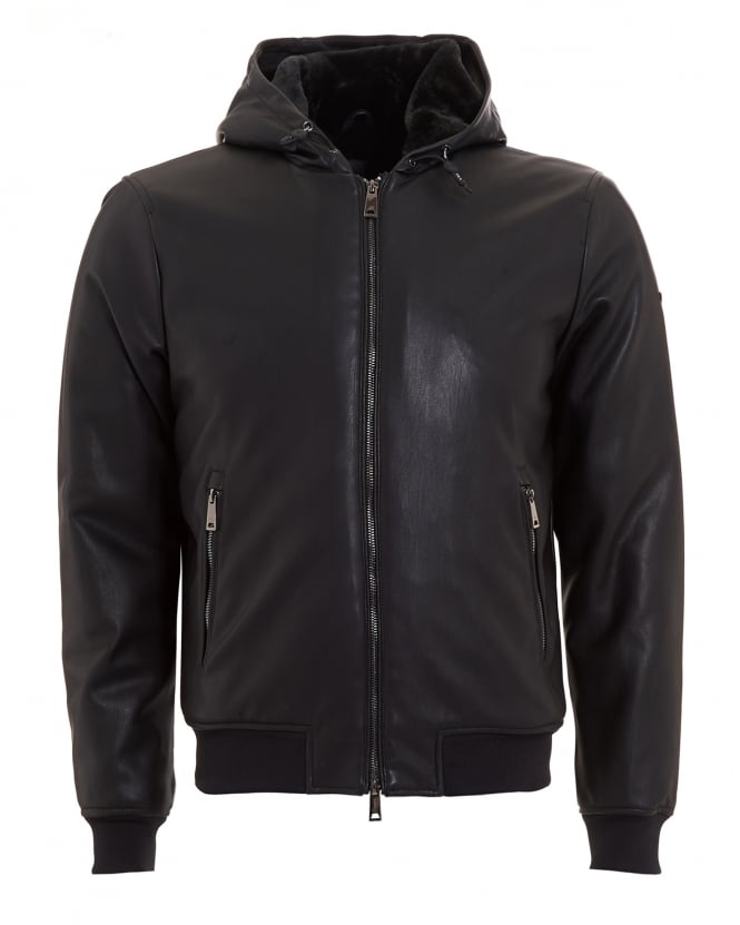 Armani Jeans Mens Blouson Jacket, Faux Leather Black Hooded Bomber