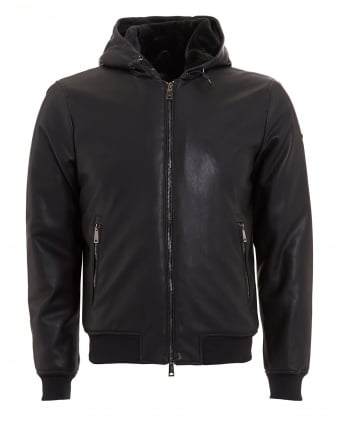 Mens Blouson Jacket, Faux Leather Black Hooded Bomber