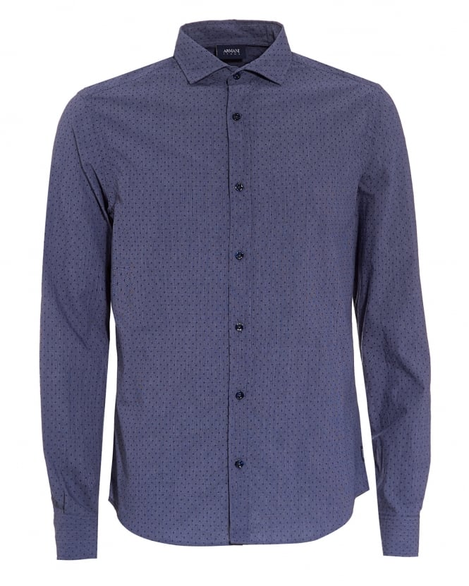 Armani Jeans Mens Blue Small Polka Dot Regular Fit Shirt