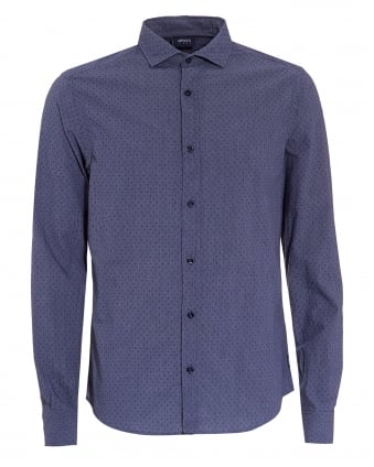 Mens Blue Small Polka Dot Regular Fit Shirt