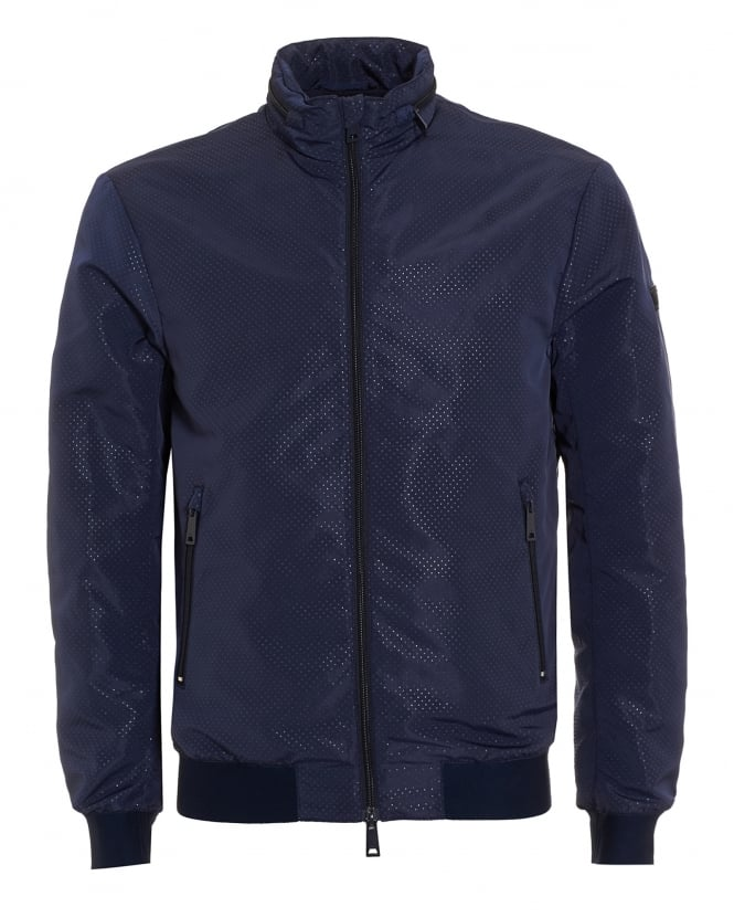 Armani Jeans Mens Bomber Jacket, Perforated Navy Blue Jacket