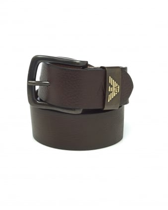 Mens Brown Grained Leather Belt