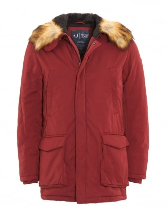 Mens Coat, Faux Fur Waterproof Bordeaux Parka Jacket