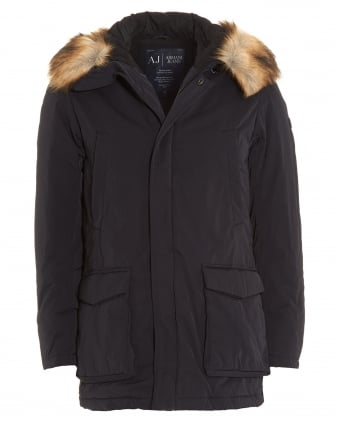 Mens Coat, Faux Fur Waterproof Navy Blue Parka Jacket