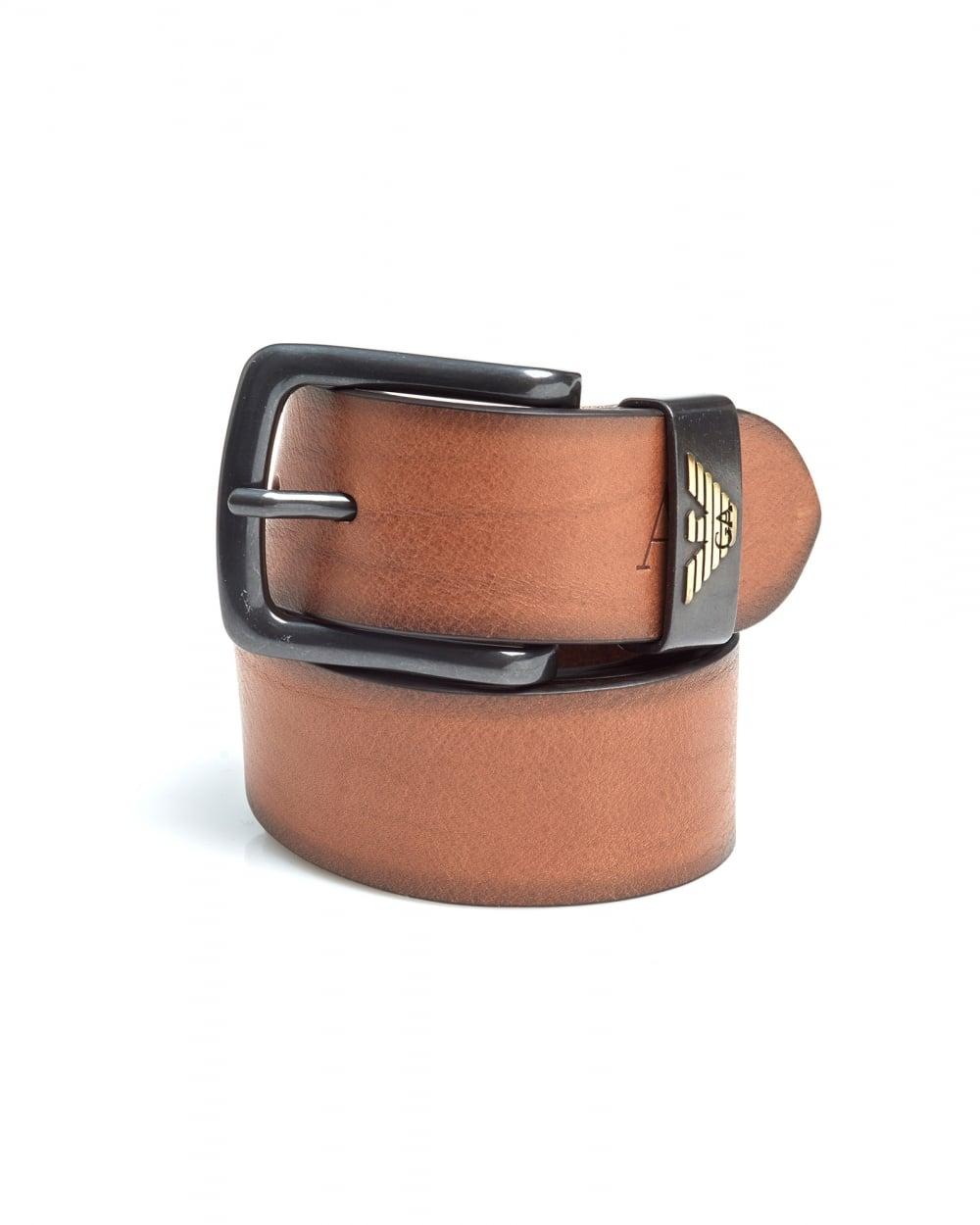 Emporio Armani Mens Cognac Brown Eagle Logo Leather Belt ...
