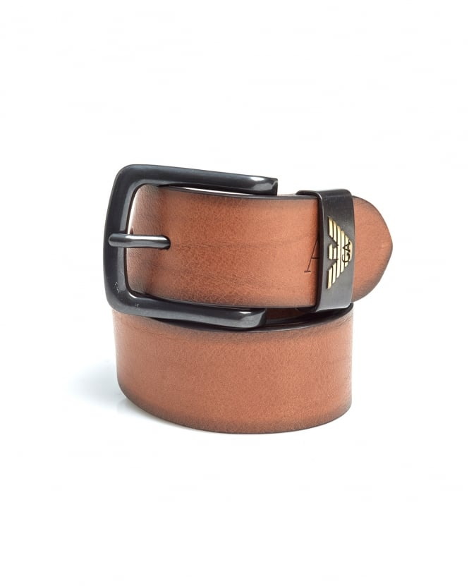 Armani Jeans Mens Cognac Brown Eagle Logo Leather Belt