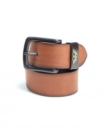 Mens Cognac Brown Eagle Logo Leather Belt
